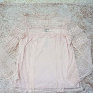 Express Light Pink Lace Long Sleeve Blouse